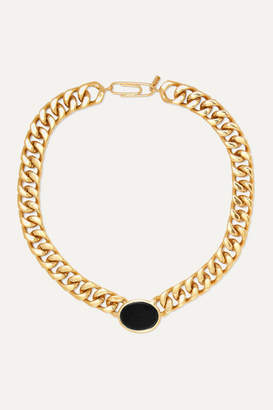 Aurelie Bidermann Bronx Gold-plated Onyx Necklace
