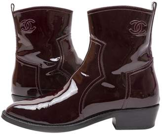 Chanel Burgundy Patent leather Ankle boots