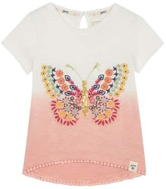 Mantaray 'Girls' Peach Embroidered Butterfly T-Shirt