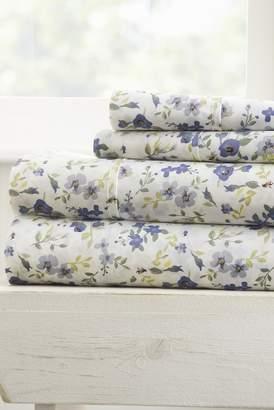 IENJOY HOME Home Spun Premium Ultra Soft Blossoms Pattern 3-Piece Twin Bed Sheet Set - Light Blue