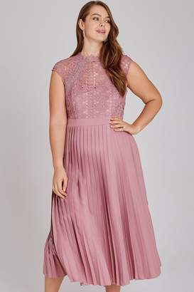 Little Mistress Alanis Blush Lace Top Midaxi Dress