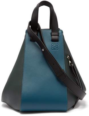 Loewe Hammock Small Leather Tote - Womens - Blue Multi