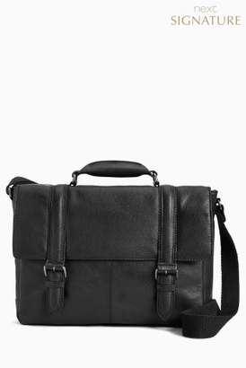 Next Mens Black Signature Leather Two Strap Briefcase