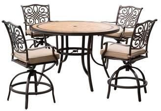 Hanover 5-Piece High-Dining Bar Set, Tan With 56 Tile-Top Table