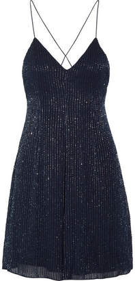 Alice + Olivia Alves Beaded Georgette Mini Dress - Royal blue
