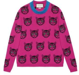Gucci Mystic cat wool cashmere knit sweater