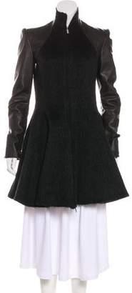 Gareth Pugh Leather-Paneled A-Line Coat w/ Tags