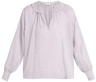 Masscob Bohan Ruffled Collar Plaid Cotton Blouse - Womens - Light Grey