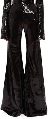 Halpern High-Waist Flared Sequin Pants