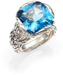 John Hardy Classic Chain London Blue Topaz & Sterling Silver Braided Ring
