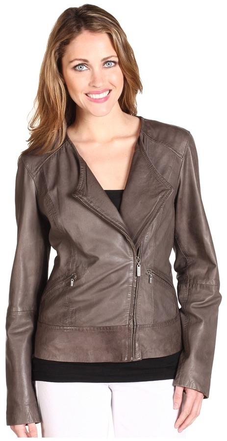 Cole Haan  Asymmetrical Vintage Leather Jacket
