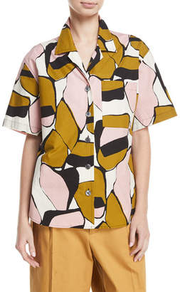 Marc Jacobs Oversized Abstract-Print Camp Shirt, Pink Pattern
