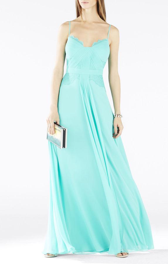 BCBGMAXAZRIAAntonia Long Lace Pleated Gown