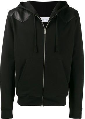Saint Laurent leather detail zip-up jacket