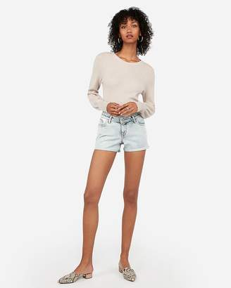 Express Low Rise Light Wash Double Roll Denim Shorts
