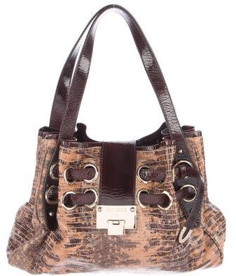 Jimmy Choo Jimmy Choo Embossed Patent Leather Riki Bag