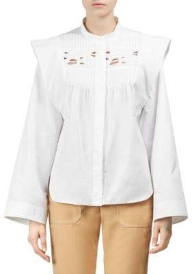 Chloé Embroidered Poplin Blouse