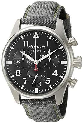 Alpina Men's AL-372B4S6 Startimer Pilot Chronograph Big Date Analog Display Swiss Quartz Black Watch