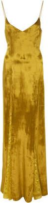 Galvan Lace-Trimmed Velvet Slip Dress