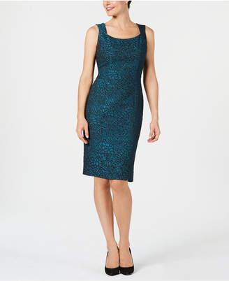 Kasper Animal-Print Jacquard Sheath Dress