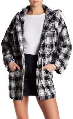 Six Crisp Days Plaid Patch Pocket Hoodie Coat $210 thestylecure.com