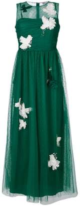 RED Valentino flower patch tulle dress