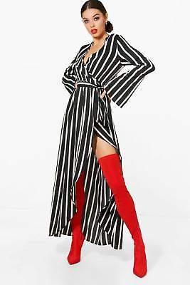 boohoo NEW Womens Wide Sleeve Wrap Front Tie Stripe Maxi Dress in