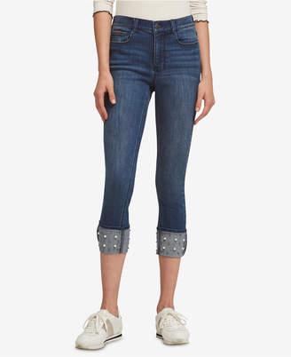 DKNY Cuffed Beaded Jeans