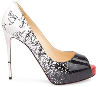 747444e7e7 Christian Louboutin New Very Prive 120 Degrade Patent Leather Peep Toe Pumps