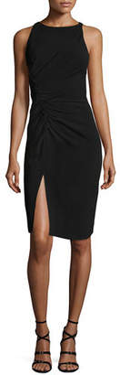 Halston Sleeveless Boat-Neck Crepe Cocktail Dress w/ Gathering