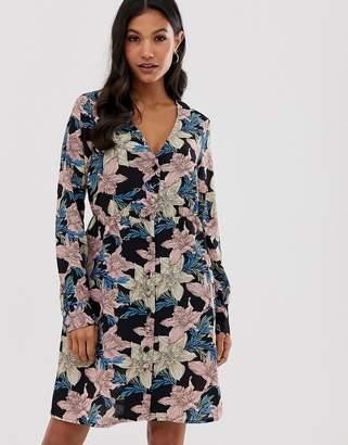 Vila floral button front dress