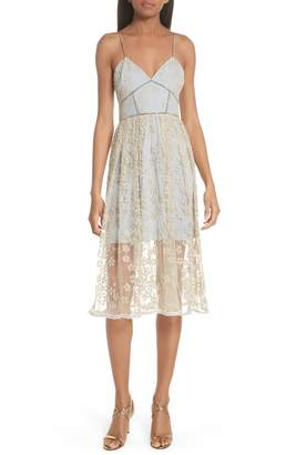 Self-Portrait Metallic Floral Embroidery Chain Strap Dress