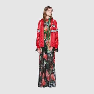 Gucci Poppy field print lurex maxi gown