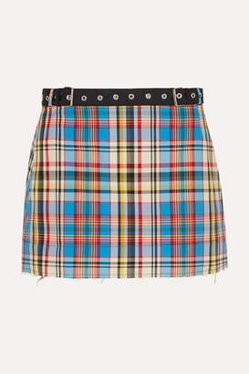 Marques Almeida Marques' Almeida - Belted Frayed Plaid Poplin Mini Skirt - Blue