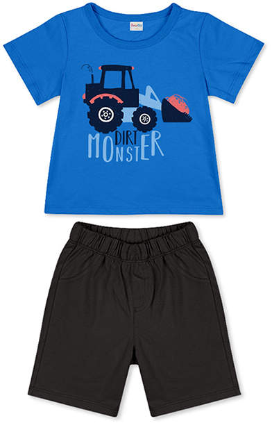 Blue 'Dirt Monster' Tee & Black Shorts - Newborn, Infant, Toddler & Boys