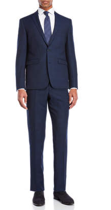 Vince Camuto Two-Piece Navy Birdseye Plaid Suit