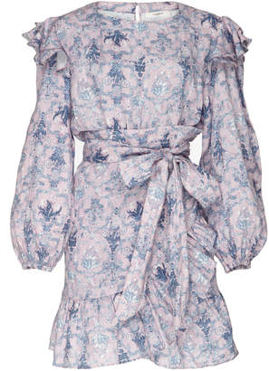 Etoile Isabel Marant Telicia Ruffled Printed Linen Mini Dress