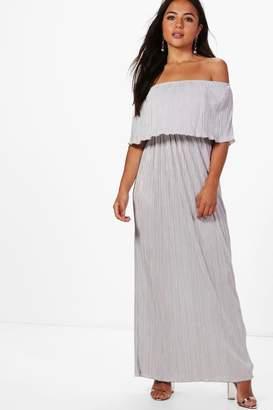 boohoo Petite Helen Bardot Pleat Fabric Maxi Dress