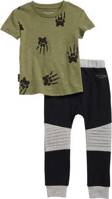 Tiny Tribe Paw Print T-Shirt & Sweatpants Set