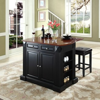"""Crosley Furniture Drop Leaf Breakfast Bar Top Kitchen Island with 24"""" Upholstered Square Seat Stools"""
