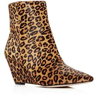 Donald J Pliner Women's Jae Leopard Print Calf Hair Wedge Booties