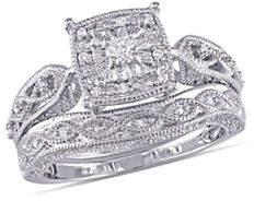 Concerto Cushion-Cut 0.20 TCW Diamond Filigree Sterling Silver Bridal Ring Set