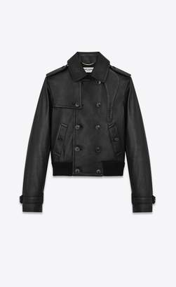 Saint Laurent Jacket In Grained Lambskin With Trench Coat Detailing