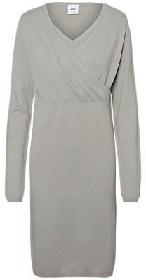 Mama Licious Mamalicious Zolanda Knit Wrap Nursing Dress, Light Grey