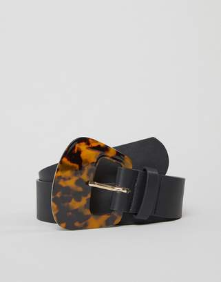 Glamorous tortoiseshell oversized buckle black belt