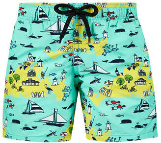 Vilebrequin Jim Beach %26 Ocean Print Swim Trunks, Size 2-14