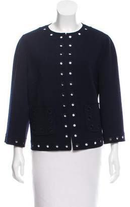 Andrew Gn Eyelet-Trimmed Collarless Jacket w/ Tags