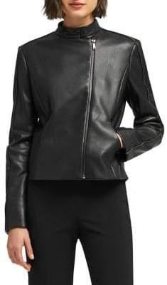DKNY Faux Leather Mockneck Jacket