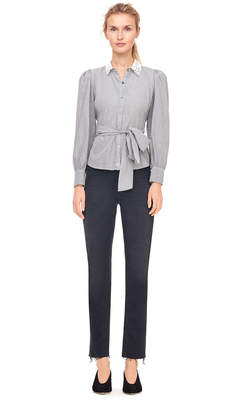 Rebecca Taylor La Vie Striped Shirt With Eyelet Collar