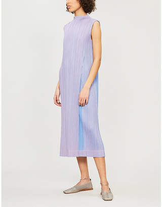 Pleats Please Issey Miyake Shiny Pleats round-neck pleated dress
